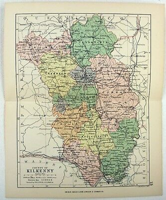Original 1882 Map of the County of Kilkenny, Ireland by George Philip. Antique