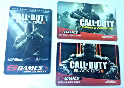 3x GAME STOP COLLECTIBLE Gift Card No Value CALL OF DUTY BLACK OPS II III INFI..