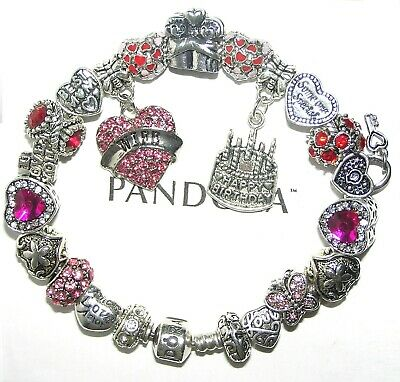 Authentic Pandora Silver Bracelet with WIFE BIRTHDAY, LOVE, PINK European Charms
