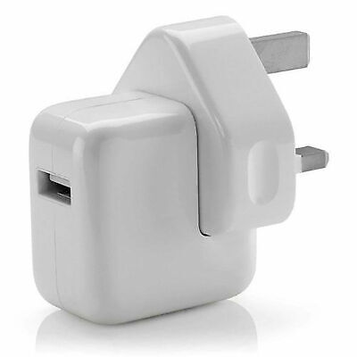 POWER USB MAINS PLUG ADAPTER 12W CHARGER UK PLUG FOR iPad iPHONE SAMSUNG HTC ALL