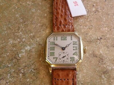 Serviced 1930 Elgin Cut Corner Art Deco Etched Yellow Gold Filled Case