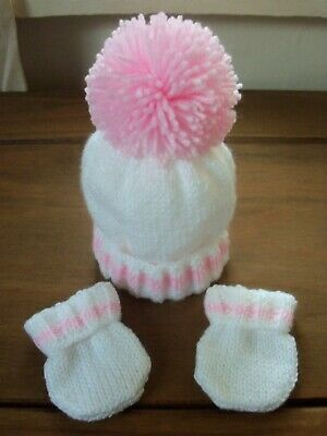 Hand Knitted Baby Hat & Mitts Set - New Born