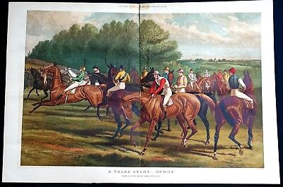 "1951 Vintage DEGAS /""THE FALSE START/"" HORSE RACING COLOR Art Print Lithograph"