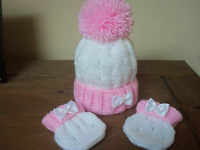 Hand Knitted Baby Girls Hat & Mitts Set - Size New Born