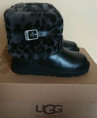 UGG Australia Kids Ellee Animal Black Sheepskin Boots, Sz 3