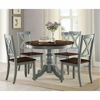 5 Piece Dining Room Set Rustic Round Kitchen Table Chairs Farmhouse Teal Mocha
