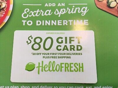 Hello Fresh $80 Gift Card (Email Delivery) expires 5/31/19