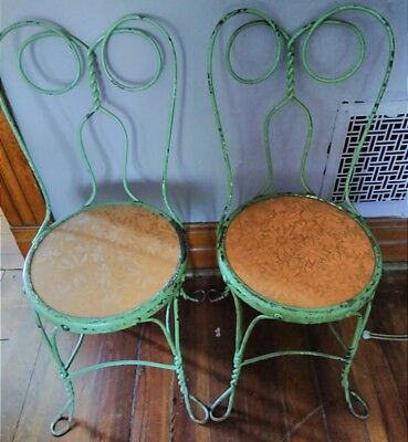 Pair Antique Ice Cream Parlor Chairs chippy paint