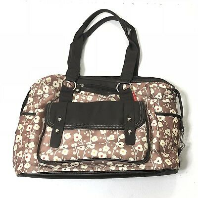 EUC Skip Hop Brown Floral Print Diaper Baby Bag With Pockets And Storage