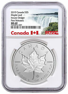 2019 Canada 1 oz Silver Maple Leaf Incuse $5 NGC MS69 FR Exclusive SKU57183