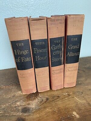 Vintage 1949 Winston Churchill Lot Of Four Finest hour Gathering Storm Grand