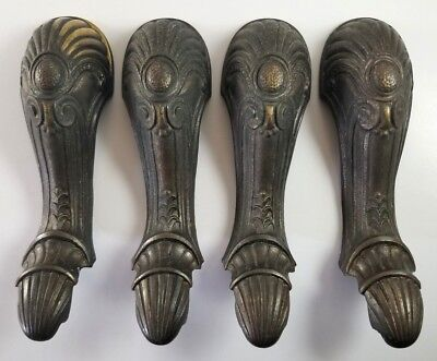 Brass Stove Furniture Legs Ornate Antique Set Of 4