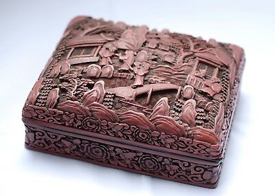 Antique Chinese Quality Carved Cinnabar Lacquer Box, Qianlong mark, 19th Cent.