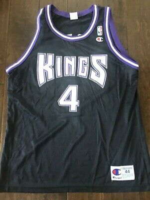 d077b2f2a1a8 Chris Webber  4 Sacramento Kings NBA Vintage Black Champion Jersey Adult 44