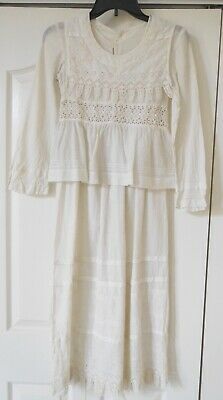 Superb! Antique Vintage Off White Eyelet Lace 2 Piece Victorian Dress