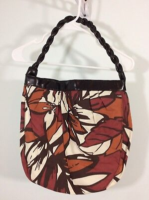Avon Canvas Brown Floral Tote Purse One Snap Braided Handle  New Used