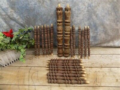 Lot Wood Spindles Architectural Salvage Fretwork Furniture House Trim Vintage N