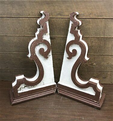 Pair Antique Victorian Wood Corbels Roof Brackets, Architectural Salvage Shabby