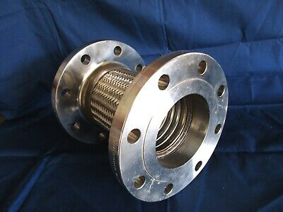 "9"" Long Stainless Steel 4"" Mesh Flexible Flanged Coupling """"Never Used"""""