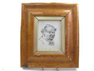 Antique 19th century pen & ink drawing portrait study of a pastor An Ideal Type