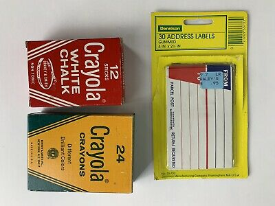 0364706e23b33 VINTAGE OFFICE SCHOOL Supplies Dennison Crayola Crayon Chalk
