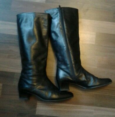 Vintage Shabby Leder Stiefel 39 weiss Boots Moss Slouch 80er