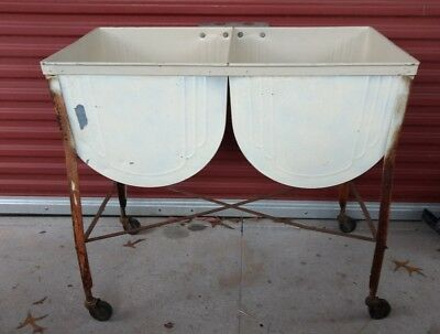 "Vintage Galvanized Double Wash Tub Stand On Wheels 38""W x 20.5""D x 34""T"