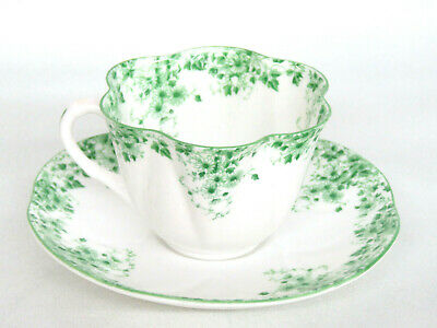 Shelley Dainty Green Bone China Tea Cup and Saucer Made in England 729B
