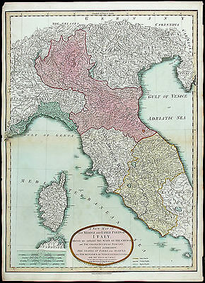 JBB D'ANVILLE Antq&XRare Lt 18thC 1799 [1807] MAP MIDDLE & UPPER PARTS OF ITALY
