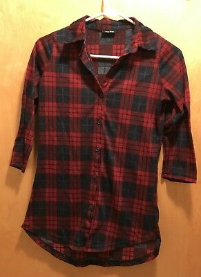 Rue 21 Women's 3/4 Sleeve Button Down Red Plaid Flannel Top Shirt Size S