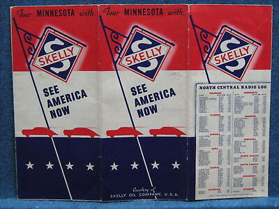 1940s Skelly Road Map of Minnesota --1940 Census Figures