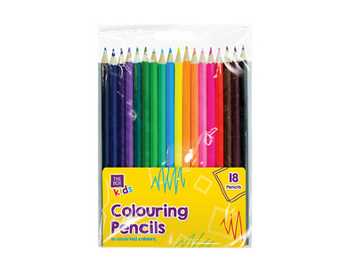 Colouring Pencils Assorted Colours, 18 pack Kids Art & Craft Colouring Drawing