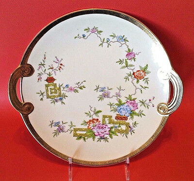 Nippon Noritake Hand Painted Large Plate With Gilded Handles - Ikebana - Japan