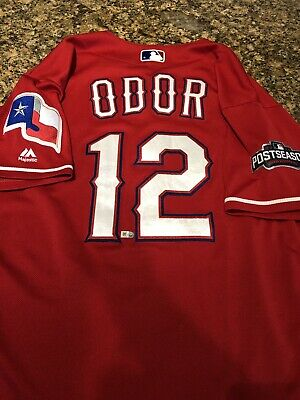 e72ffb81935 Roughed Odor Game Used 2016 Texas Rangers Jersey MLB Authentication