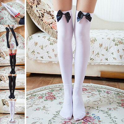 Girl Stretchy Meias Over The Knee High Socks Stockings Tights With Bows Thigh GV