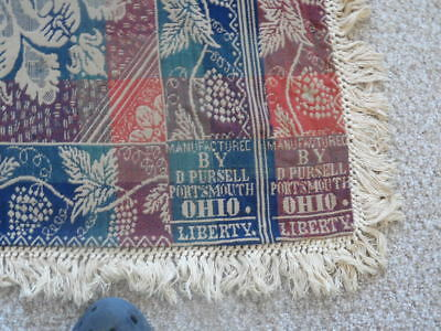 """JACQUARD COVERLET SALMON, NAVY, GREEN  SIGNED """" D.Pursell , Portsmouth , Ohio """""""