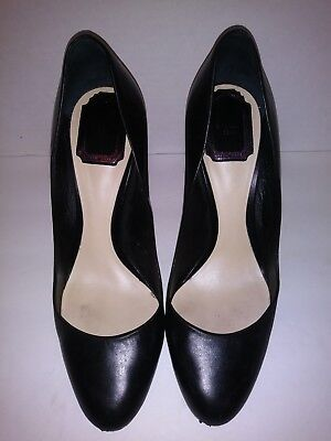 49fd99a1c2 Christian Dior Black Leather Pointed Toe High Heel Pumps pink heel Size 38  US 8