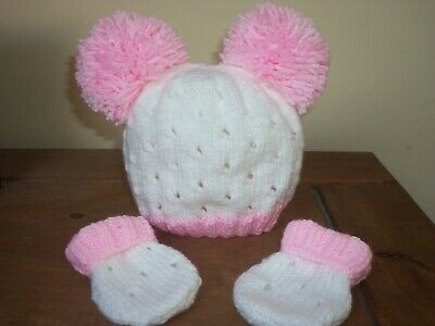 Hand Knitted Baby Hat & Mitts Set -Size New Born