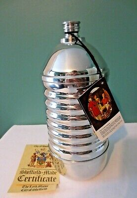 Rare NEW in Box PINDER BROS. LTD SHEFFIELD ENGLAND Pewter Ribbed Water Bottle