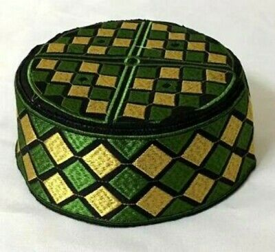 24bb8ef43a9f2 Muslim Kufi Green Embroidered Koofi Mens SUDAN Prayer Cap Islamic Hat size  60