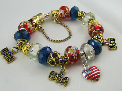 """FREE POST 925 STAMPED 20cm EUROPEAN STYLE CHARM BRACELET  """"BRIGHT AMERICAN GOLD"""""""