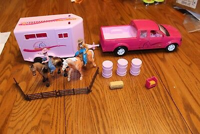 Popak horse rider  figures Truck Trailer lot like Breyer Stablemates pink fence