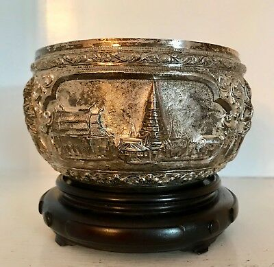 "Lovely Old Sterling Silver 6"" Repousse Bowl & Stand  ~Buddhist Temples ~Thailand"