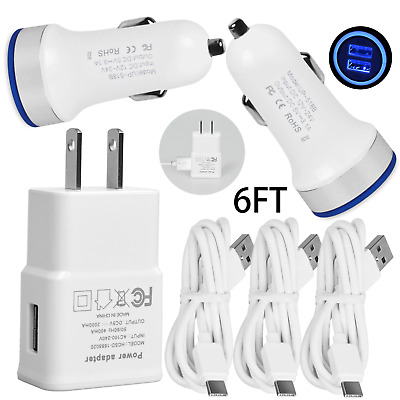Wall/Fast Car Charger 6FT USB TypeC Cable for Samsung Galaxy S8 S9 S10e S10 Plus