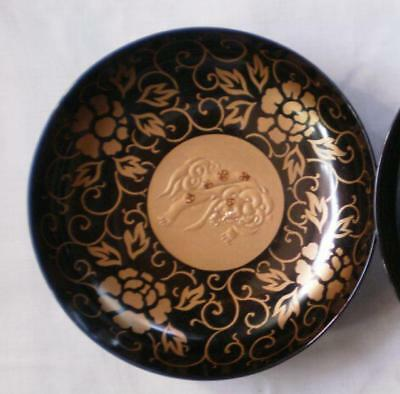 Antique Japanese lacquer chawan (lidded bowl) 1900-15 handpainted #3769