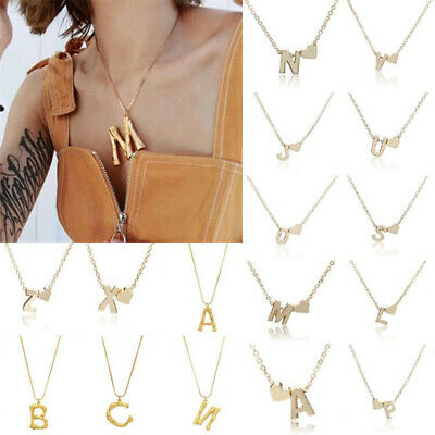 2019 Women Gold Plated Personalised Initial Letter A-Z Chain Necklace Pendant