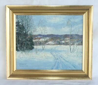 HERBERT FOERSTER Oil Painting. Impressionist Snow Landscape Signed LISTED