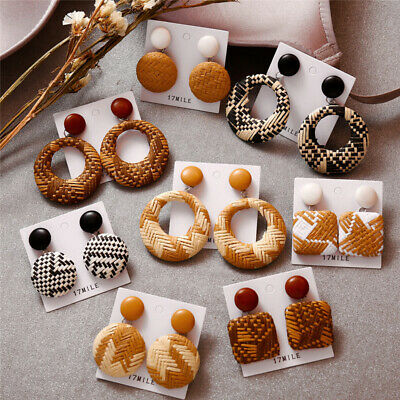 2019 Fashion Women Wood Bamboo Rattan Geometric Circle Dangle Earrings Jewelry