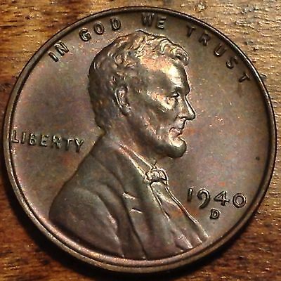 BU RED TONED 1935 Wheat Penny Lincoln Cent Rare Us Coin
