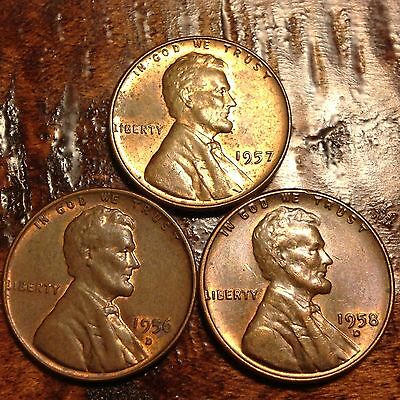 1952 1956 1957D ~**LOT OF 4**~ Lincoln Wheat Cent Copper